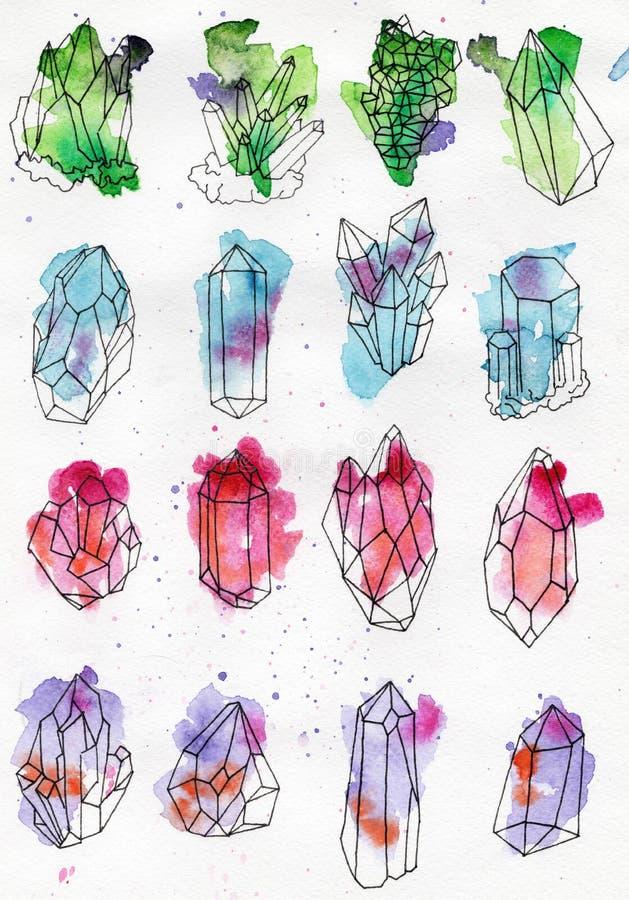 Cristal d'aquarelle, minerai, ensemble de gemme illustration stock