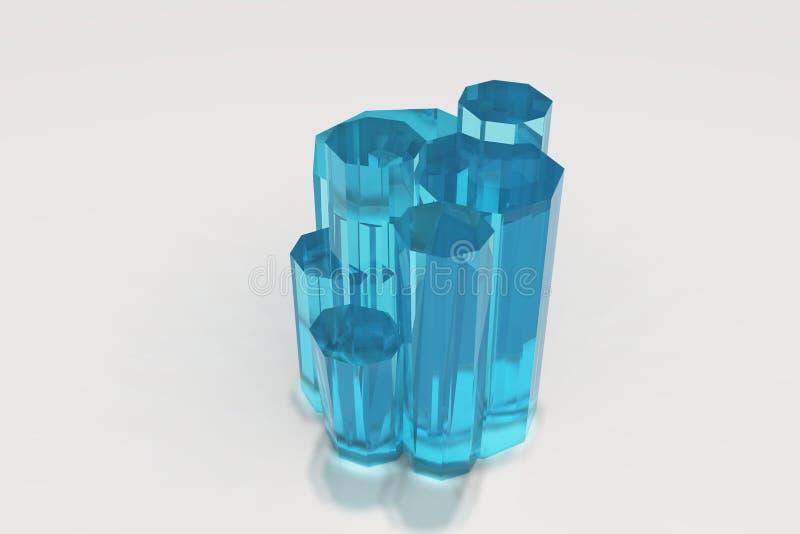 Cristal da água-marinha azul colorida em um fundo branco ilustração royalty free