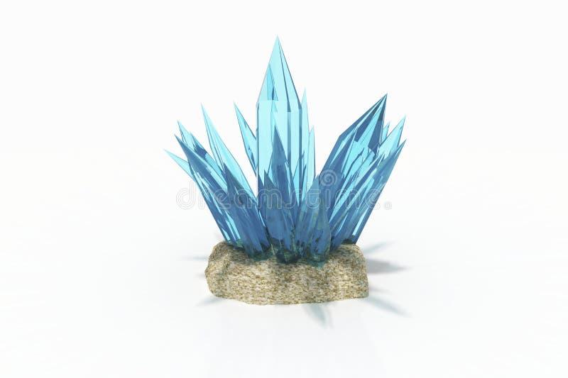 Cristal da água-marinha azul colorida em um fundo branco imagens de stock