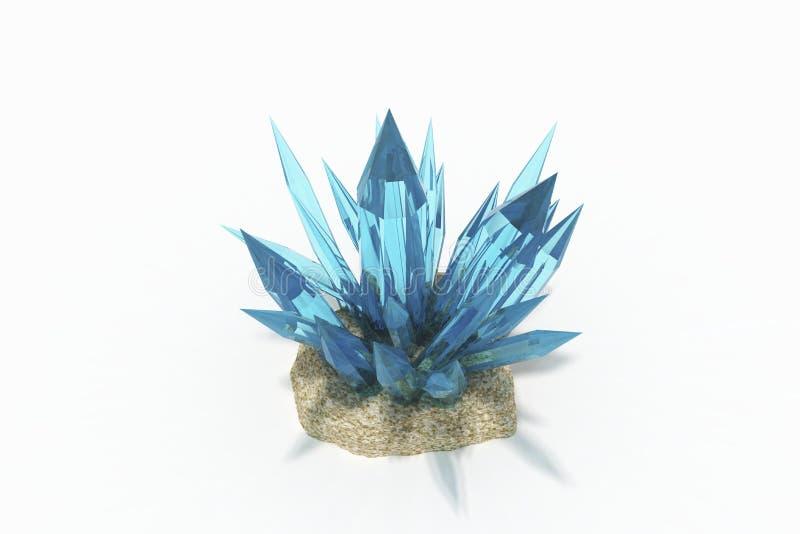 Cristal da água-marinha azul colorida em um fundo branco fotos de stock royalty free