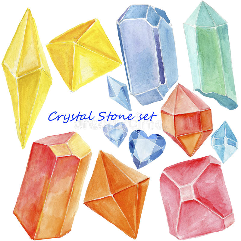 Cristal da aquarela, mineral, grupo da gema ilustração royalty free