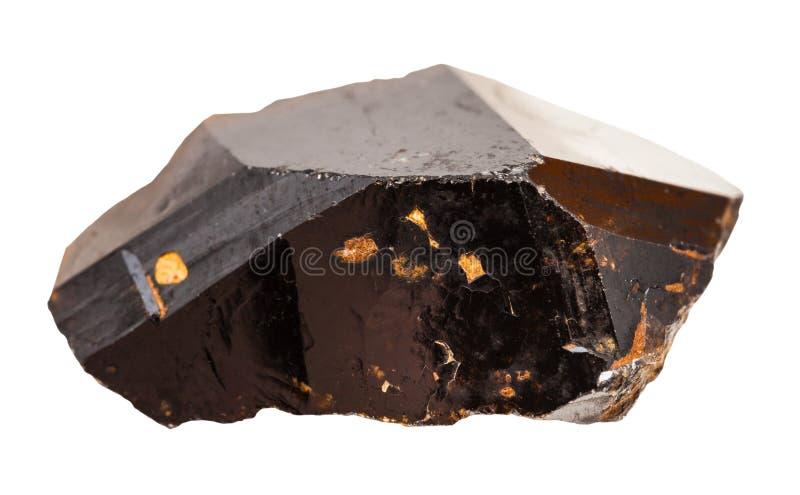 Cristal da pedra do minério da lata do Cassiterite isolada imagem de stock