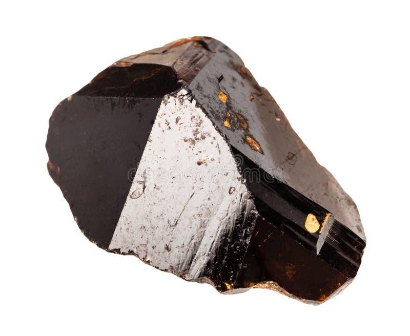 Cristal de Brown da pedra do Cassiterite isolado imagens de stock