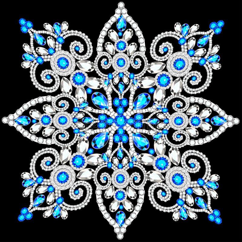 Cristal de flocon de neige de Noël de façon précieuse Beaux bijoux illustration de vecteur