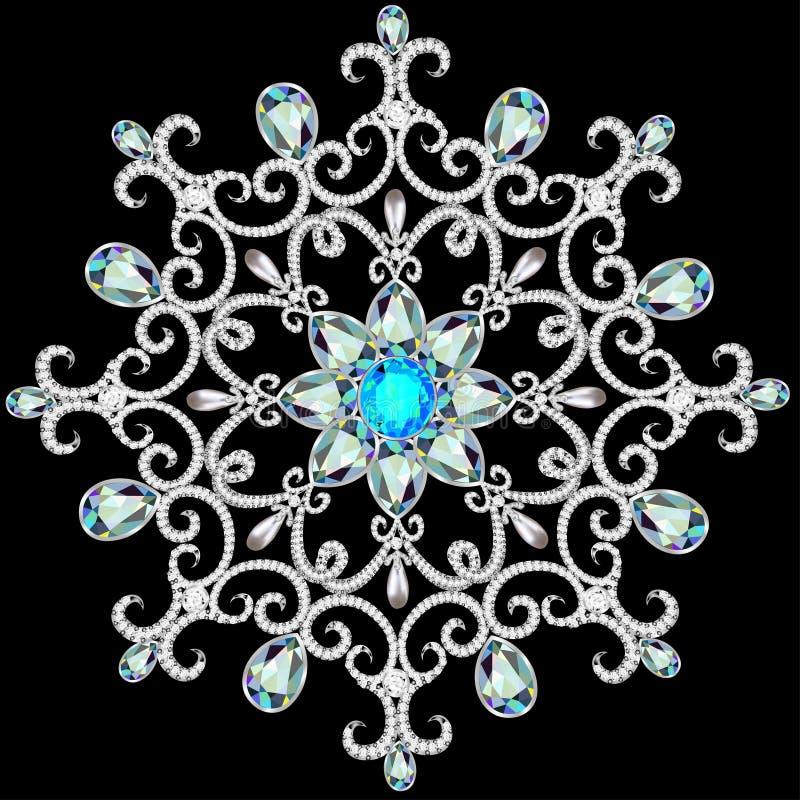 Cristal de flocon de neige de Noël de façon précieuse Beaux bijoux, medalli illustration stock