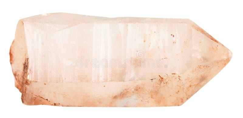 Cristal de la pierre minérale de quartz rose d'isolement photographie stock