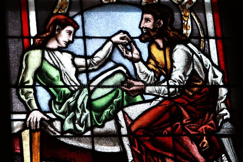 Cristal de ventana de la iglesia. Catedral de Colonia fotografía de archivo libre de regalías