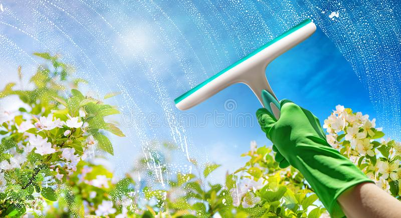 Cristal de ventana de la limpieza con el detergente fotos de archivo libres de regalías