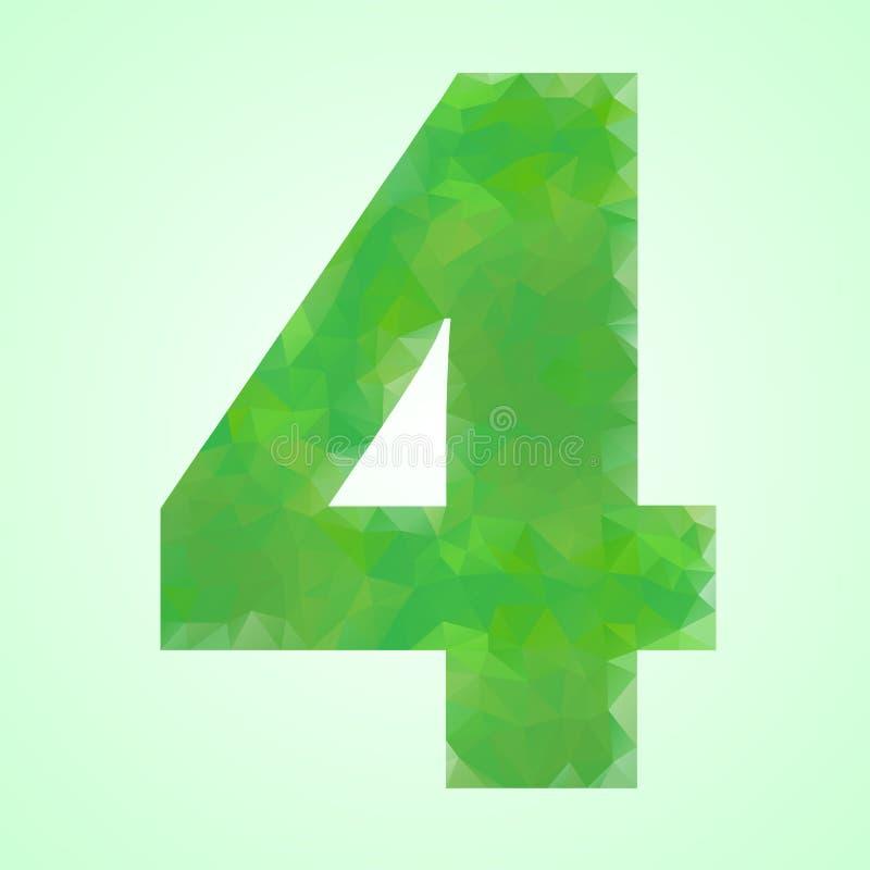 Cristal del verde del color del número 4 ilustración del vector