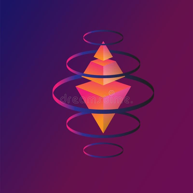 Cristal do voo, inclinação, anel, rombo, pirâmide ilustração do vetor
