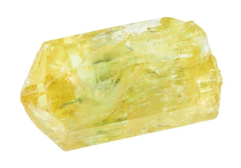 Cristal dourado da apatite da apatite amarela crua fotografia de stock