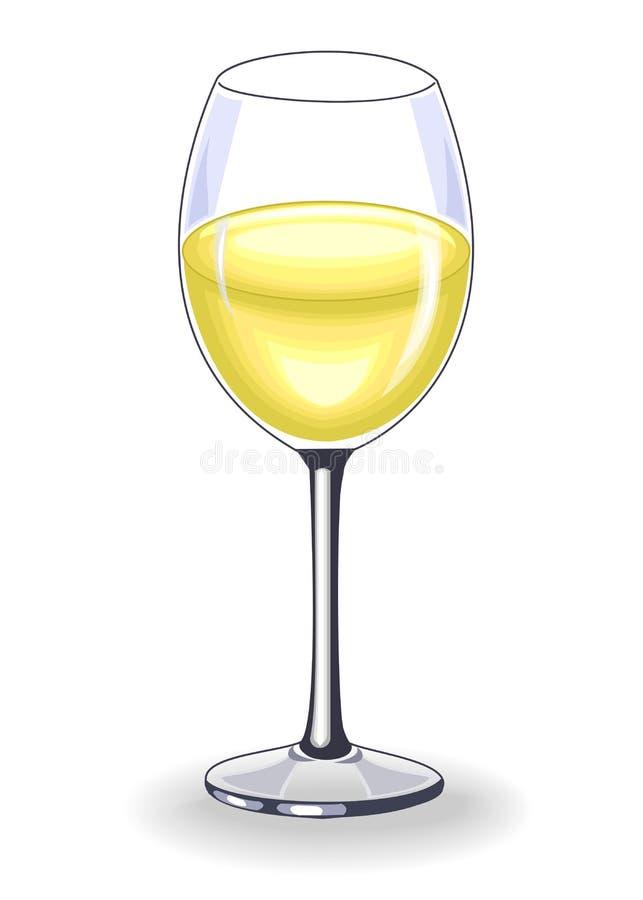 Cristal hermoso con el vino blanco delicioso Decoraci?n de la tabla festiva Ilustraci?n del vector stock de ilustración