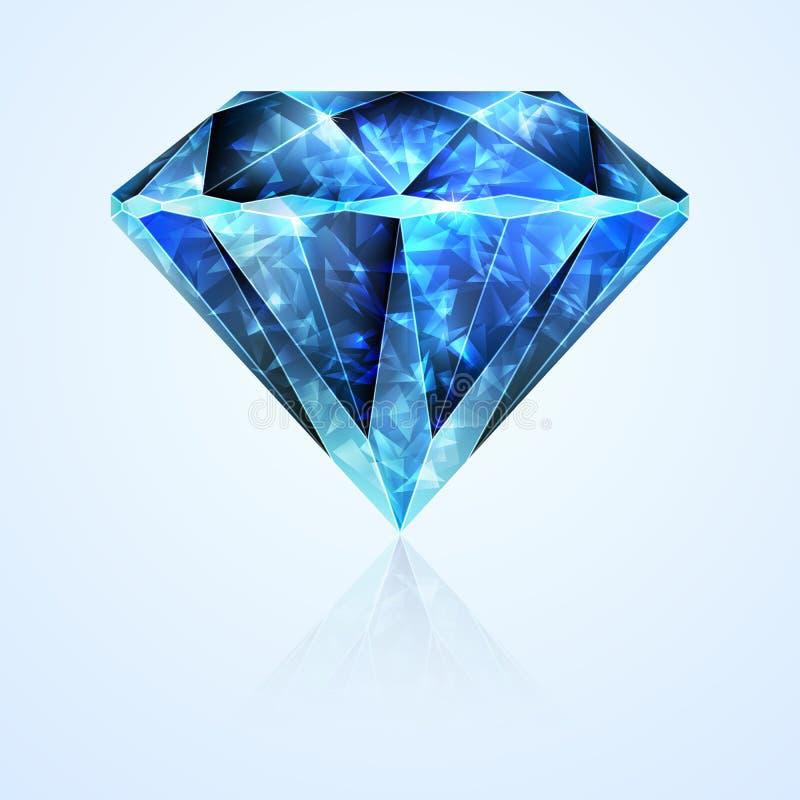 Cristal lapidado joia da pedra da safira ilustração royalty free