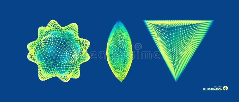 Cristal Objeto con las líneas y los puntos conectados Rejilla molecular estilo futurista de la tecnología 3d para la química y la stock de ilustración