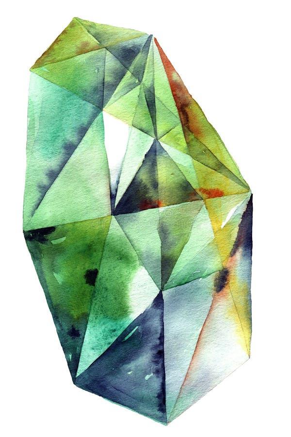 Cristal verde del diamante stock de ilustración