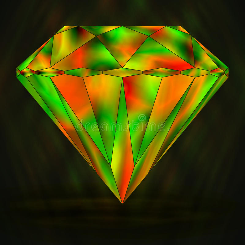 Cristal verde do sinal e vermelho colorido ilustração stock