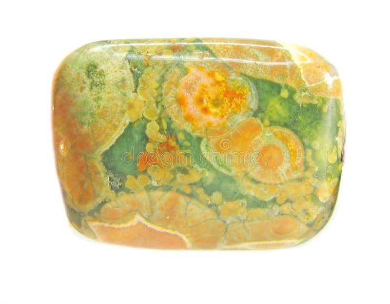 Cristal verde e amarelo do jaspe foto de stock