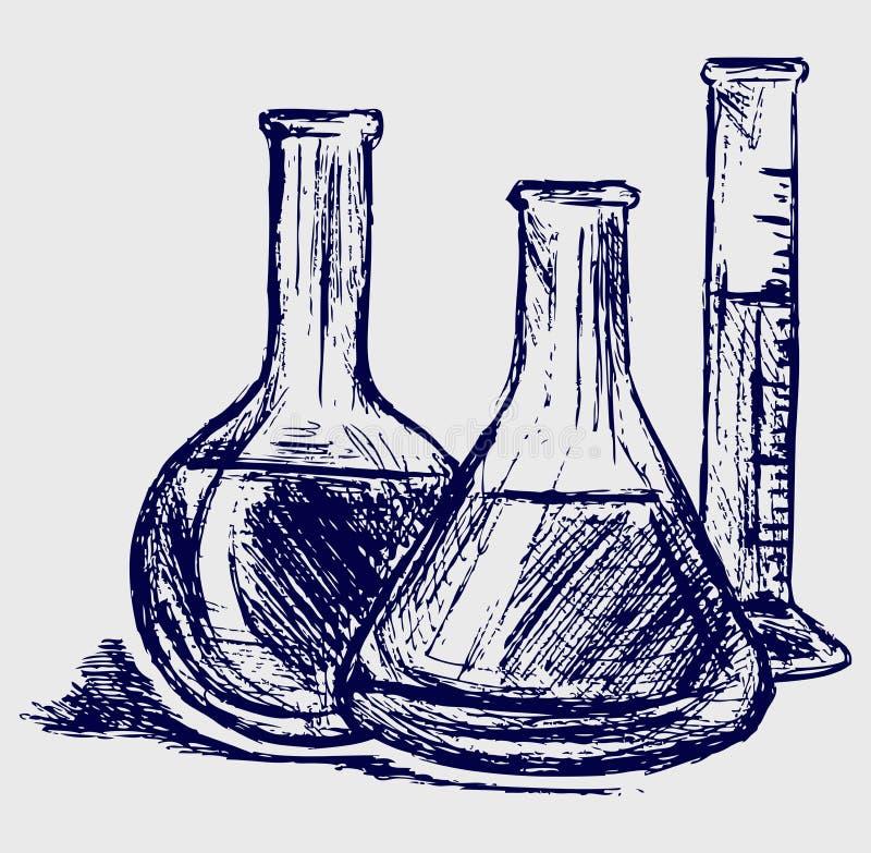 Cristalería de laboratorio ilustración del vector
