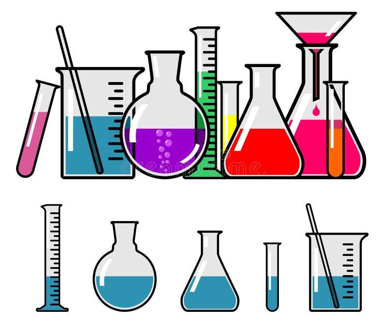 Cristalería de laboratorio stock de ilustración