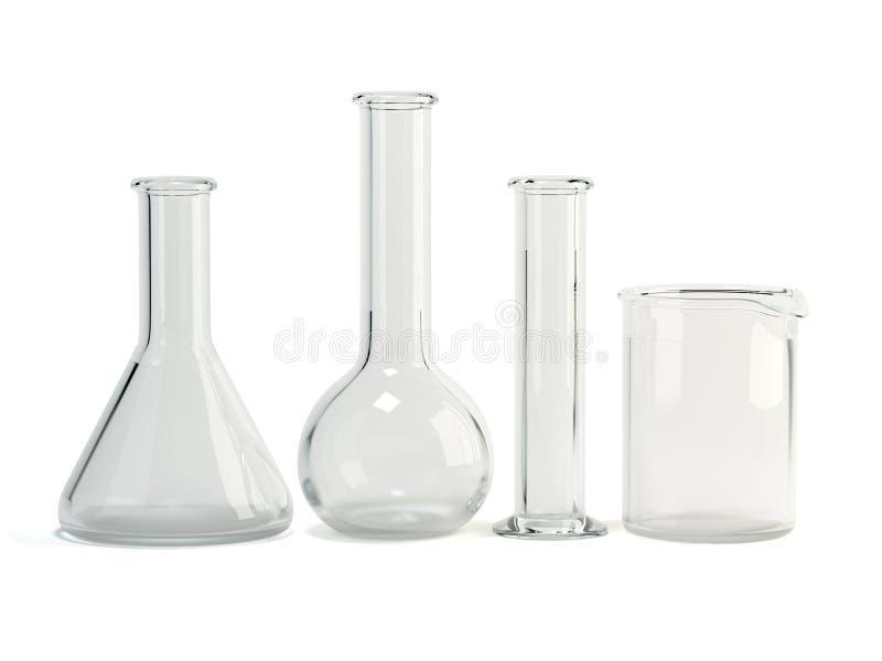 Cristalería de laboratorio Equipo de la ciencia química imágenes de archivo libres de regalías