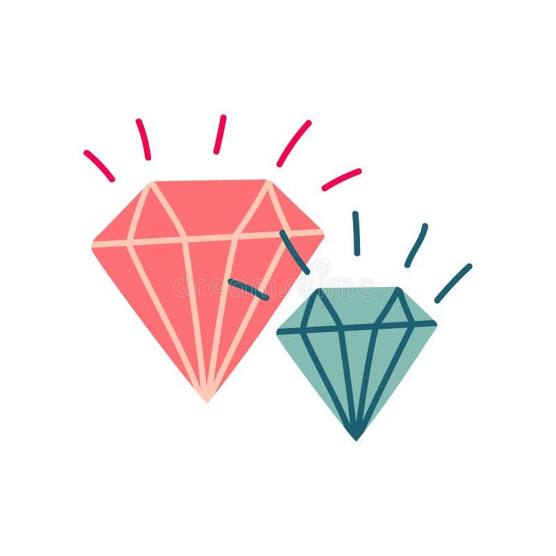 Cristales brillantes, piedras mágicas, ejemplo del vector de la cualidad de la brujería ilustración del vector