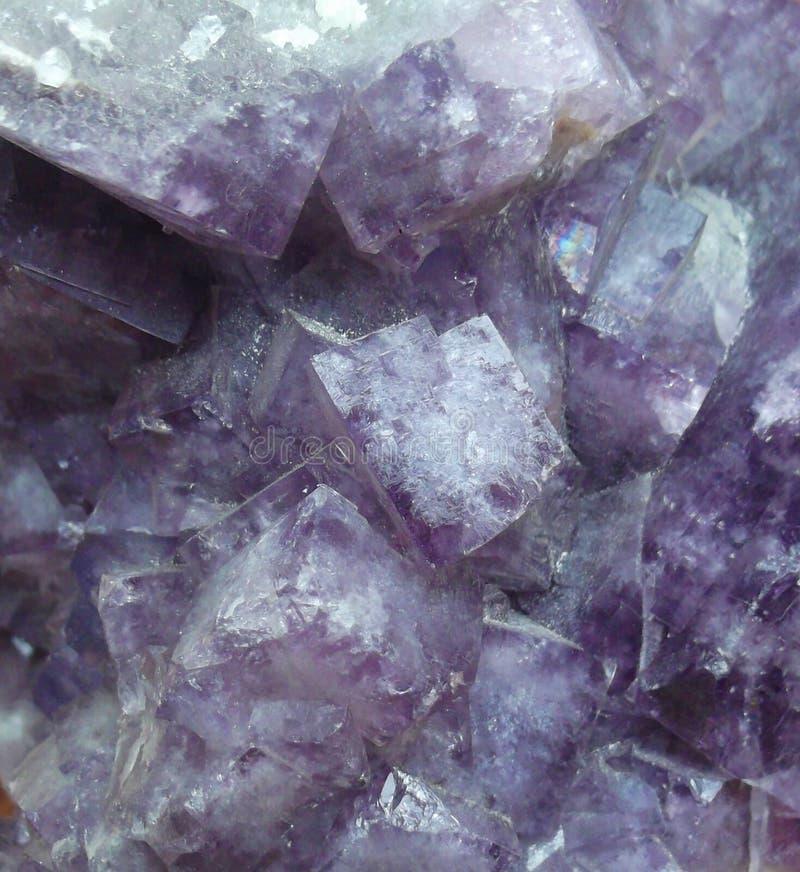 Cristales cúbicos púrpuras del fluorito en un grupo fotos de archivo