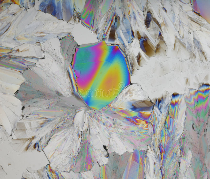 Cristales coloridos del ácido cítrico imagen de archivo libre de regalías