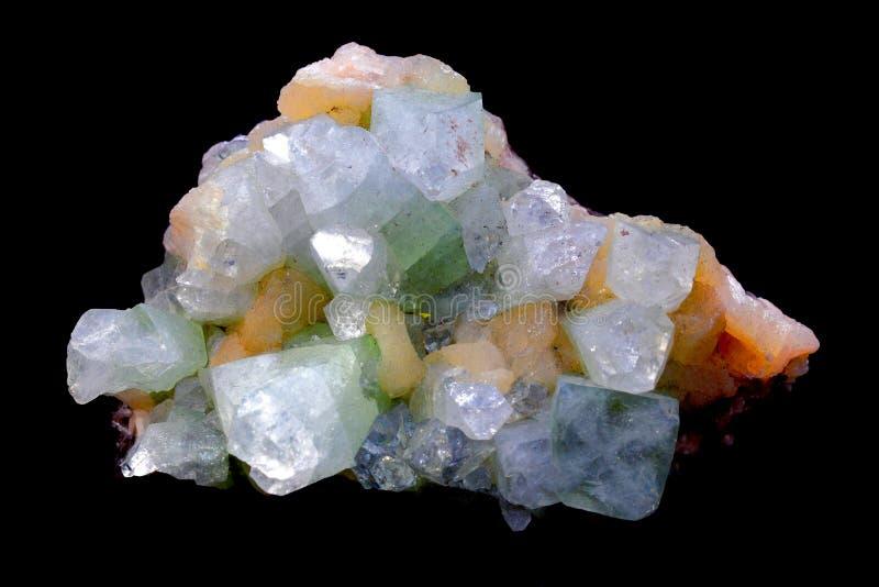Cristales de Apophyllite y de Stilbite foto de archivo