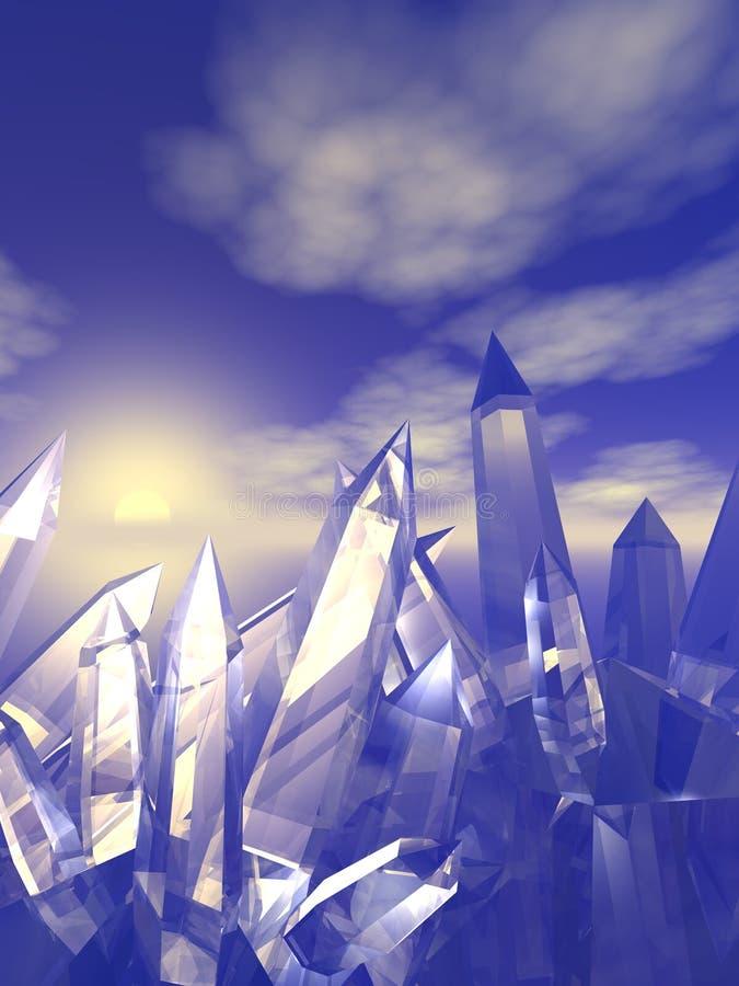 Cristales de cuarzo stock de ilustración