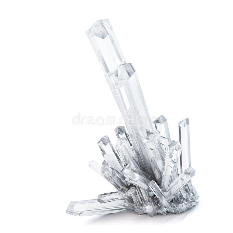 cristales de cuarzo 3D Aislado Contiene la trayectoria de recortes ilustración del vector