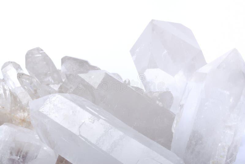 Cristales de cuarzo en blanco fotografía de archivo libre de regalías