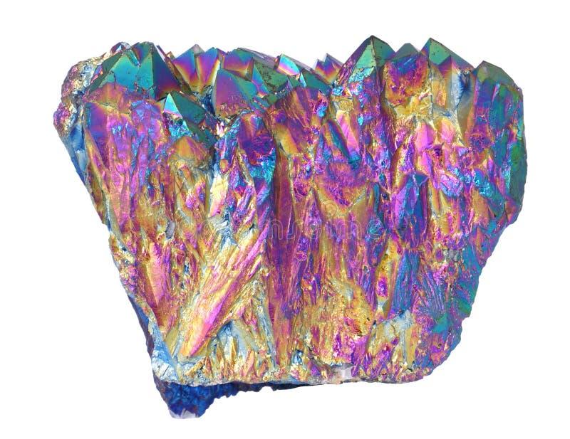 Cristales de cuarzo de la aureola del titanio imagenes de archivo