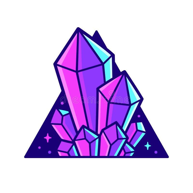 Cristales de neón en triángulo stock de ilustración