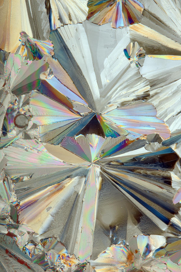 Cristales del azúcar debajo del microscopio fotos de archivo libres de regalías