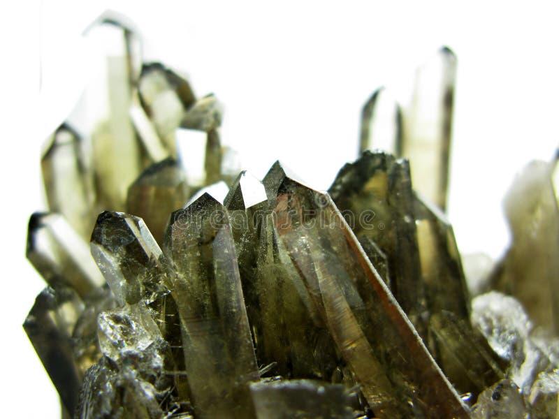 Cristales geológicos de la geoda del cuarzo ahumado fotos de archivo libres de regalías