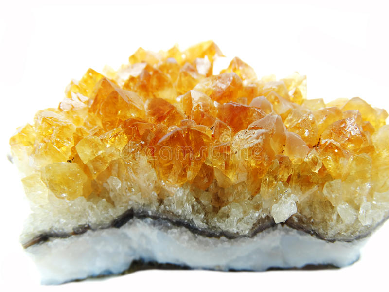 Cristales geológicos de la roca de la geoda ctystal citrina del cuarzo imagen de archivo libre de regalías