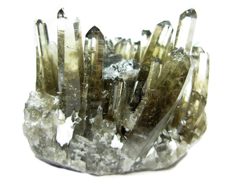 Cristales geológicos del geode del cuarzo de Morion foto de archivo libre de regalías