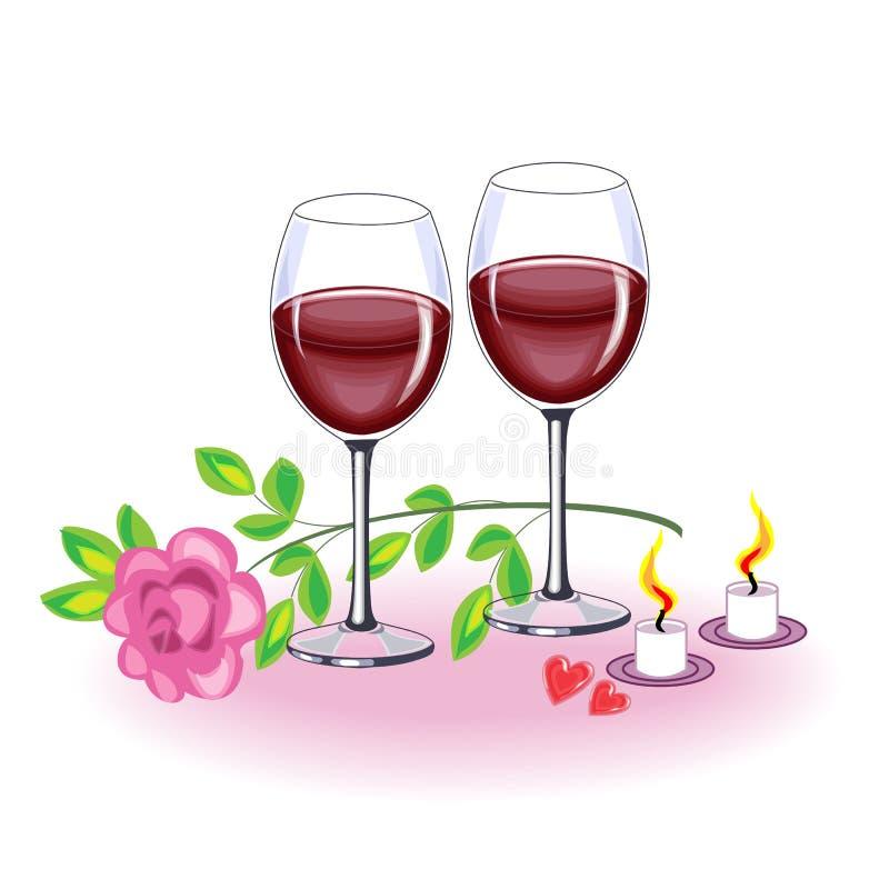 Cristales hermosos con el vino tinto delicioso El rosa subió, las velas y dos corazones rojos Tarde romántica de amantes Tarjeta  ilustración del vector