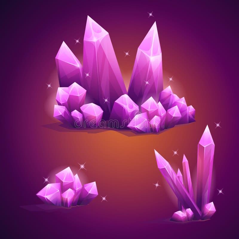 Cristales mágicos determinados de diversas formas ilustración del vector