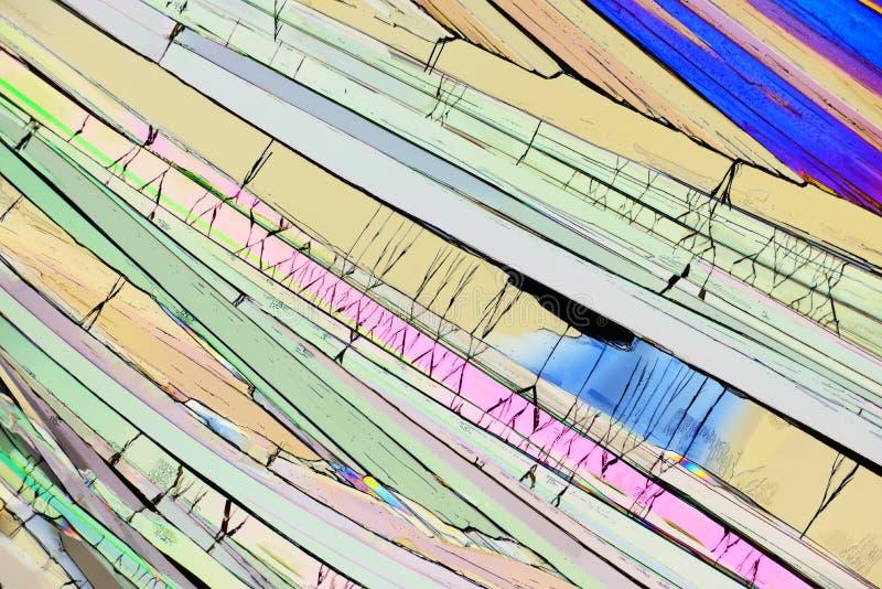 Cristales micro coloridos en luz polarizada foto de archivo libre de regalías