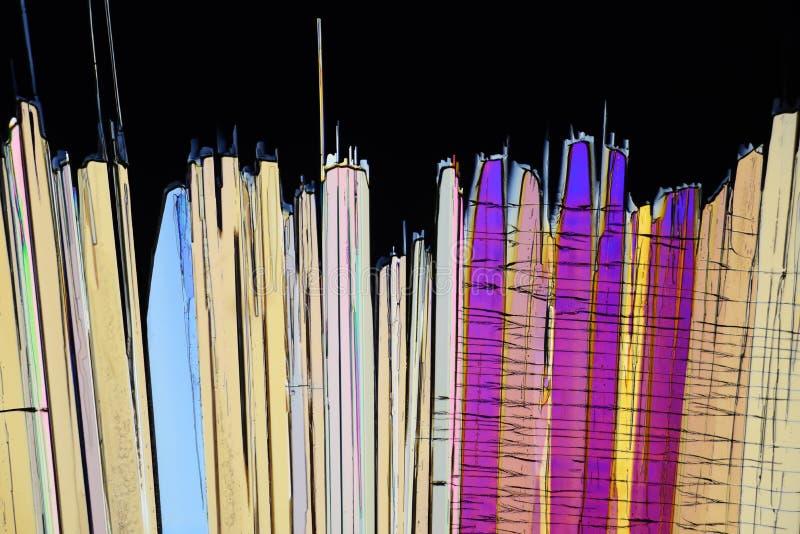 Cristales micro coloridos en luz polarizada fotografía de archivo