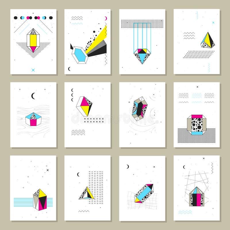 Cristales poligonales Mini Banners Collection ilustración del vector