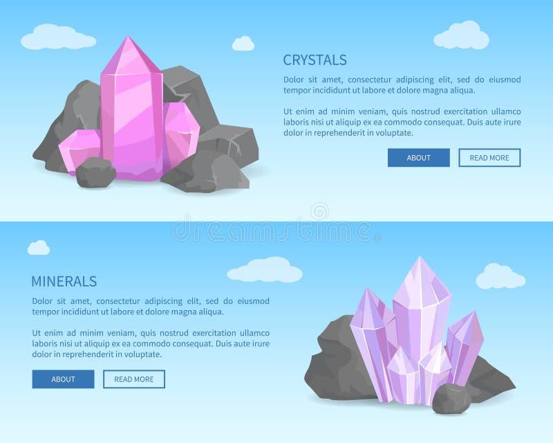Cristales y minerales entre Grey Stones Realistic libre illustration