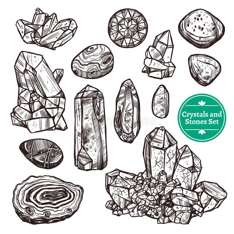Cristales y piedras fijados libre illustration