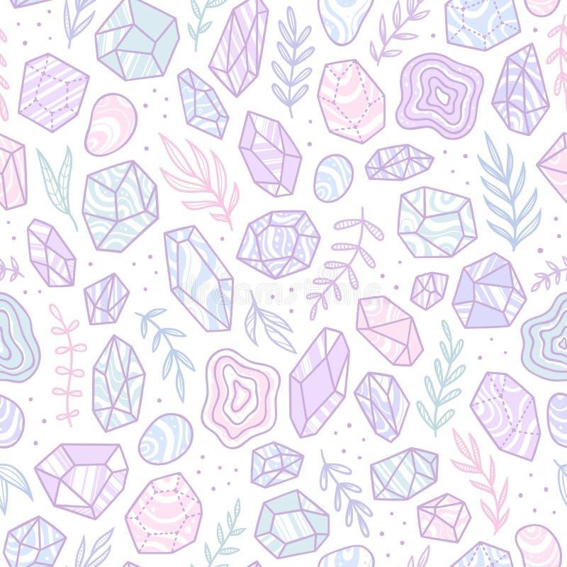 Cristalli alla moda della gemma di scarabocchio royalty illustrazione gratis