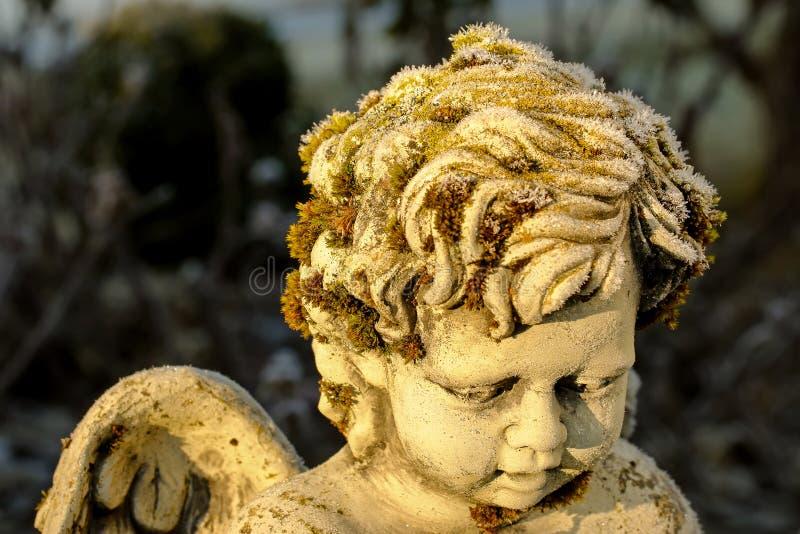 Cristalli di ghiaccio che si formano sul muschio verde su uno sculptu di pietra sveglio di angelo immagine stock libera da diritti