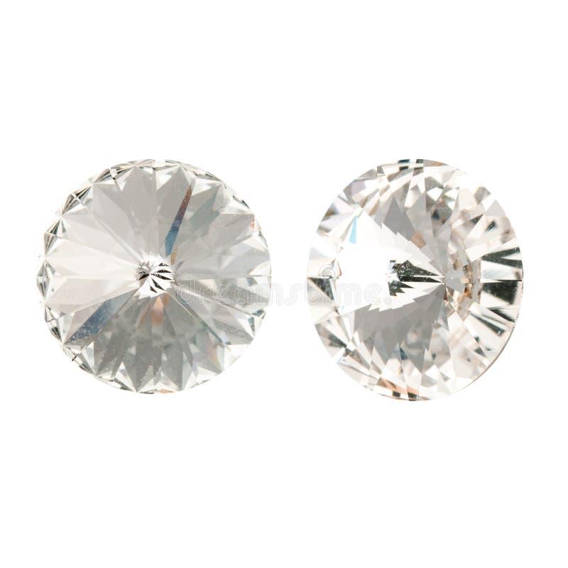 Cristalli di rocca di cristallo bianchi del grande giro Vista laterale fronta e fotografia stock libera da diritti