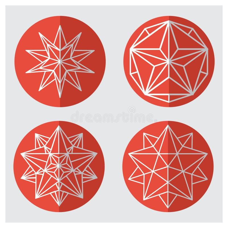 cristalli Forme esagonali fissate illustrazione di stock