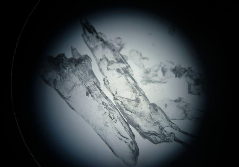 Cristalli traslucidi della droga sotto il microscopio per ricerca scientifica fotografia stock