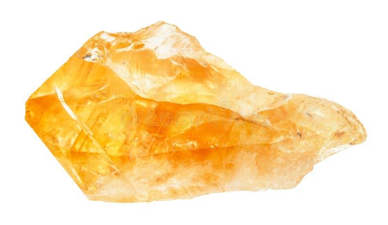 Cristallo crudo della pietra preziosa citrina isolato fotografie stock libere da diritti